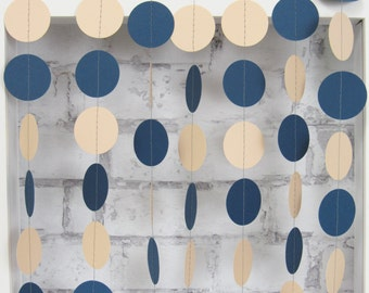 Peach and Navy Blue Paper Garland - Peach and Navy Blue - Navy Blue Wedding Decor - Peach Garland