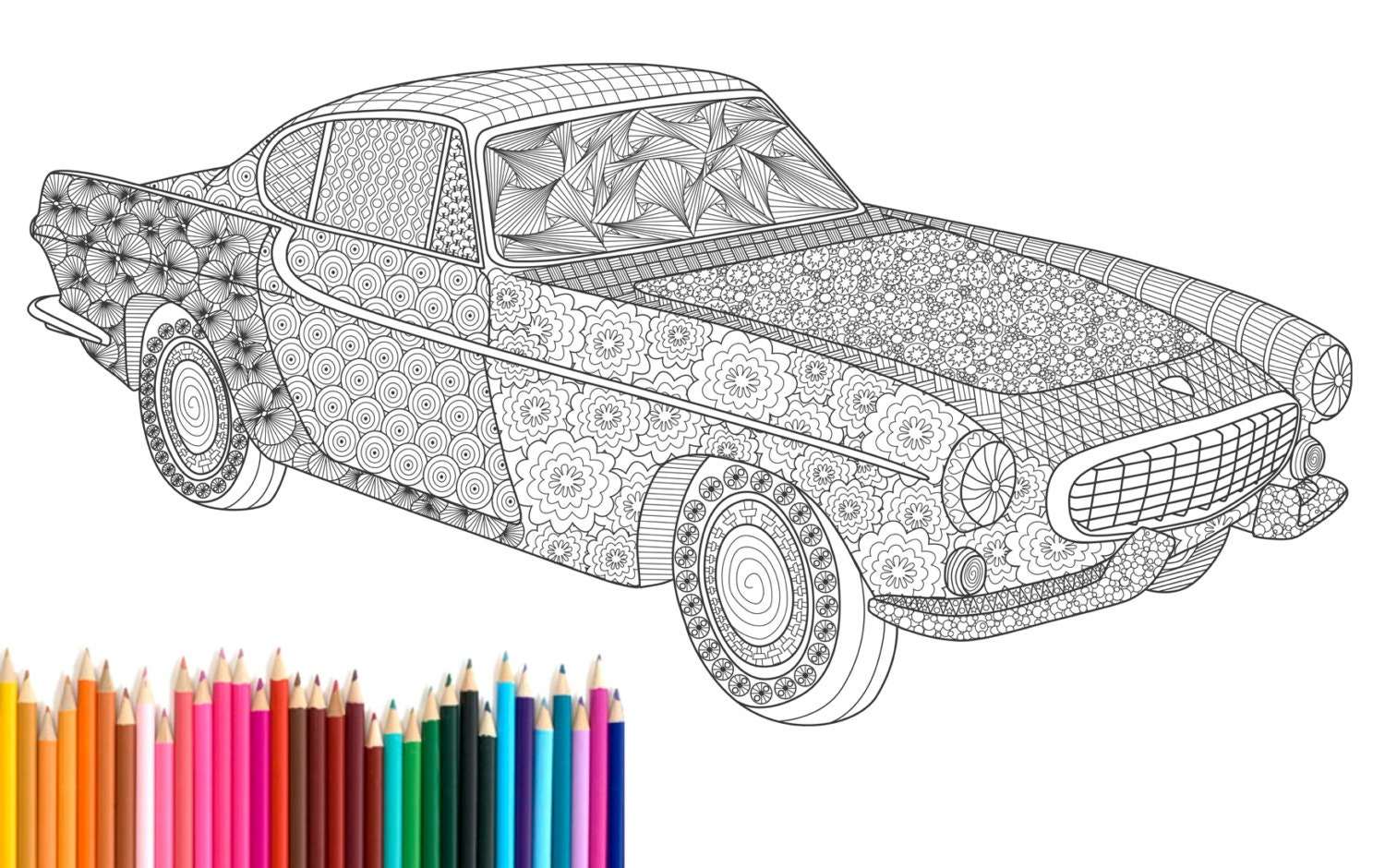 pdf printable adult coloring page zentangle volvo p1800 by recyman. Black Bedroom Furniture Sets. Home Design Ideas