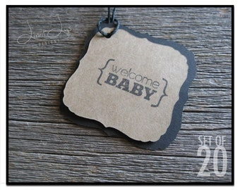 Welcome Baby Gift Tags / Kraft Gift Tags / Baby Shower / Favor Tag / Hang Tag / Decorative Square /Set of 20