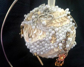 Hand Made Original Sequin & Jeweled Pearls Kissing Ball Decorative Ball Ornament