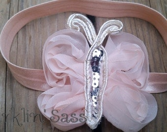 Girl's Headband, Hair Accessory, Peach Headband, Peach Butterfly, Flower Girl, Photo Prop, Birthday, Peach & Silver, Baby Headband, Sparkle