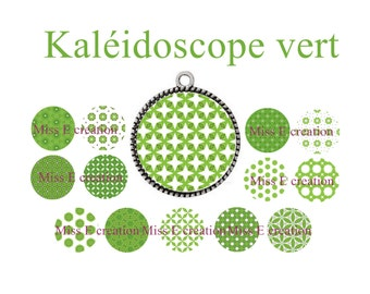 Green Kaleidoscope Board of digital images for 25mm and 20mm and 18mm round cabochon
