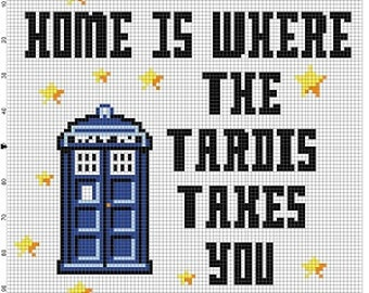 Home is where the Tardis takes you - Doctor Who Cross Stitch Pattern - Instant Download
