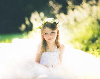 White Flower Girl Dress, Flower Girl Dress, White Flower Girl Tutu, Flower Girl Tutu Dress, First Communion Dress