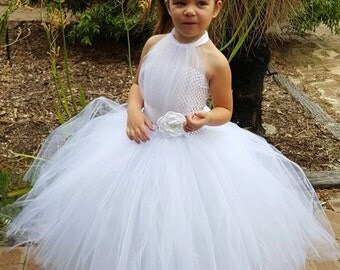 White Flower Girl Tutu Dress, White Tutu Flower Girl Dress, Can be made in different Color