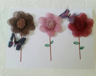 Inspirational Handmade Organza Flowers Card