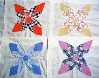 9 Quilt Blocks on Feedsack Cloth - Machine Stitched