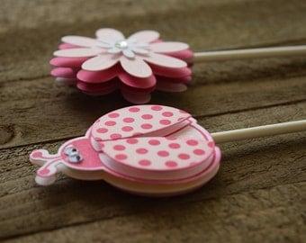 Ladybug Cupcake Toppers, Pink Ladybug Cupcake Toppers, Flower Cupcake Toppers, Doodlebug Cupcake Toppers (Set of 12)