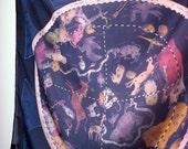 REBAJAS mapa estelar / Pañuelo de seda / Pañuelo cuadrado / Estampacion digital / Mapa estelar / Arte impreso / Pañuelo impreso / AZUL