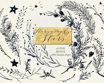 Florygraphy STARS Ink hand drawn clipart. Black and gold. Elegant and original Calligraphy style logo, invitation, blog. Watercolor clipart.