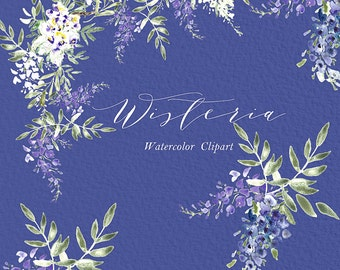 Wisteria wedding watercolor clip art, hand drawn. Romantic wedding, purple, violet purple flowers tender, wedding invitations