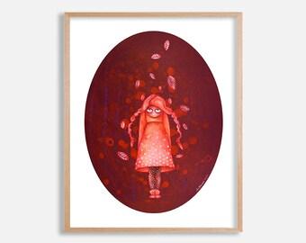 Autumn girl art print, pop surrealism, big eye art, painting by Lotte Teussink, lowbrow art, fantasy art, big eyed girl, Dutch wall art, NL