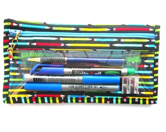 Clear vinyl pencil case. See through pencil pouch. Clear pen pouch. Vinyl zipper pouch. Clear vinyl zip pouch.