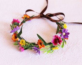 Multicoloured Daisies Flower Crown / boho, purple, orange, bright pink, yellow, leaves, nature, fall, handcrafted
