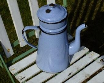 Vintage French Enamelware Coffee Pot in Light Blue Enamel