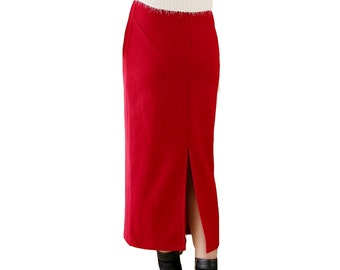 Vibrant red wool long skirt