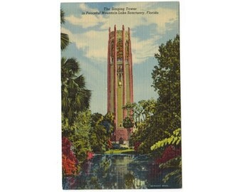 Bok Tower Gardens Singing Tower | Lake Wales Florida vintage linen postcard | Bok Mountain Lake Sanctuary | 1940s FL travel postcard