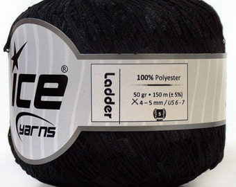 Ladder ribbon yarn, Metallic Black trellis yarn, boutique scarf knitting crochet yarn, 164 yards per skein Ice Yarn # 34020