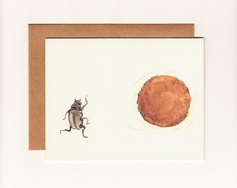 Funny Greeting Card, Encouragement, Humorous Dung Beetle Friendship, Support Greeting Card