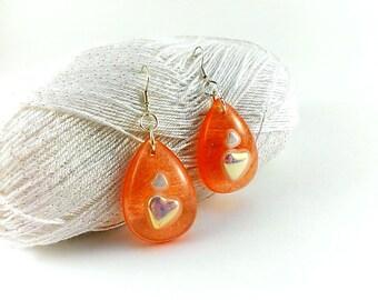 Heart earrings Apricot earrings Heart jewelry Peach earrings Drops resin hearts Eco resin earrings Orange earrings Mandarine earrings