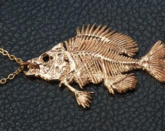 Bluegill Fish Skeleton Pendant | Bluegill Necklace | Fish Necklace | Fish Skeleton Jewelry