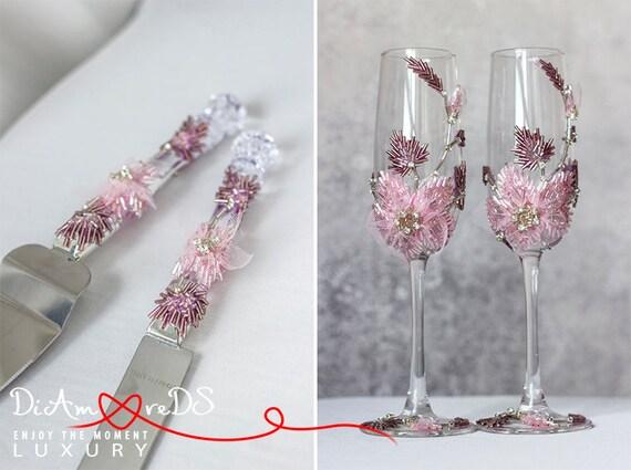 Blume Hochzeit Set Sektgläser & Kuchen von DiAmoreDSLUXURY auf Etsy