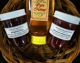 Breakfast Set - Small Batch Handmade Strawberry Rhubarb and Raspberry Jam + Local Honey