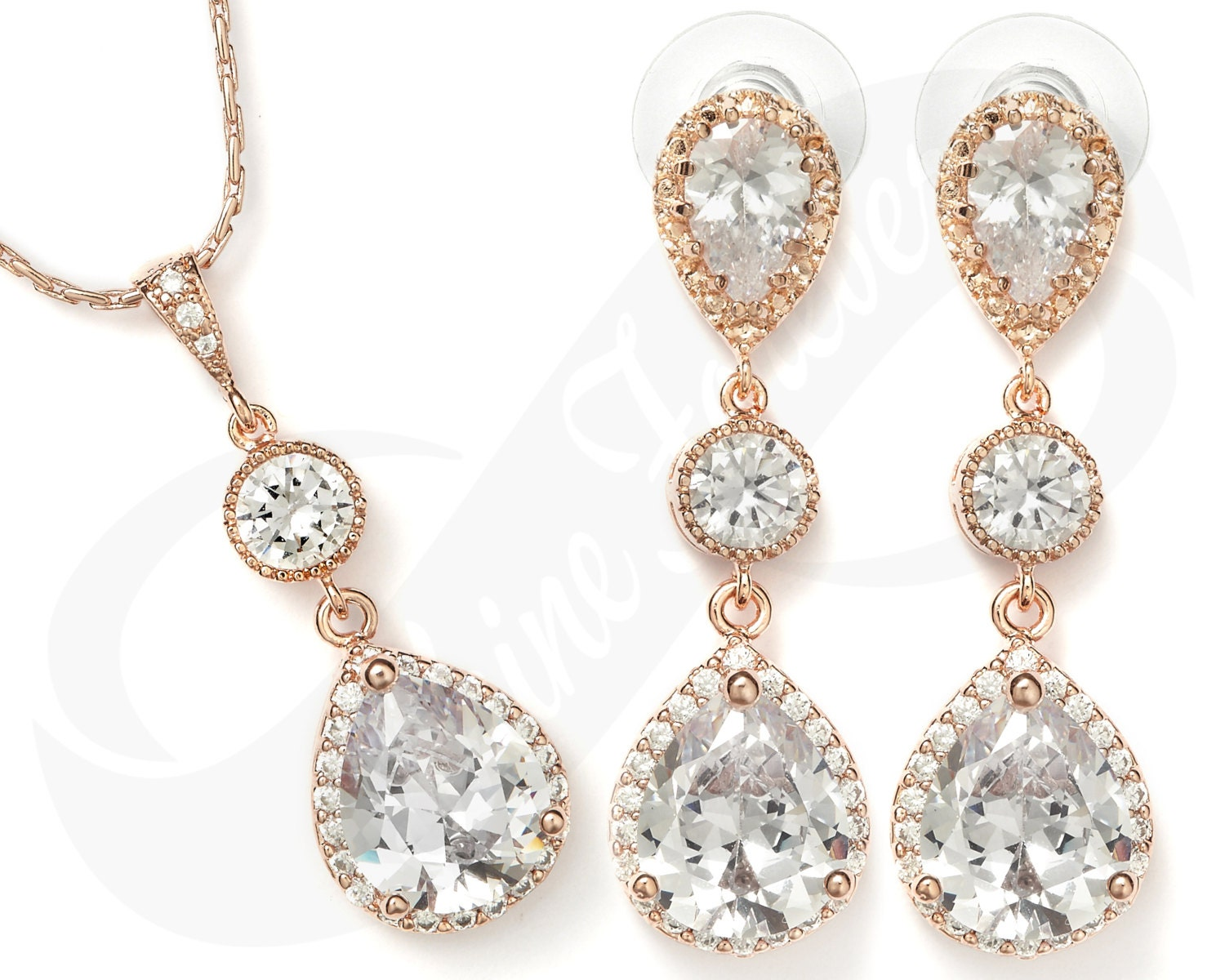 Rose Gold Bridesmaid Jewelry Set RoseGold Bridal Set Rose Gold