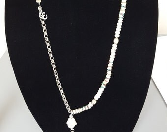 Beaded white stone necklace