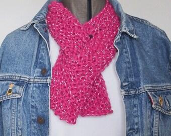 Keyhole Scarf - reflective yarn - hand knit, cosy, bright, warm, useful!