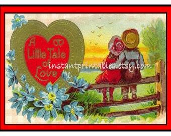 Valentine Card Retro Vintage INSTANT DOWNLOAD Digital Unique for Boyfriend Girlfriend Wife Husband Print