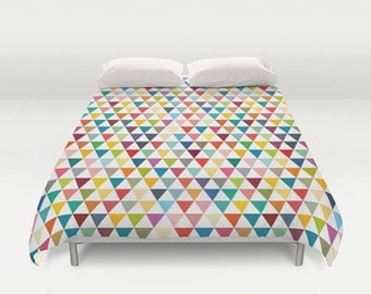 Colourful duvet cover, kids duvet cover, queen duvet cover, duvet cover, colourful duvet cover, geometric duvet cover, bedding, kid duvet