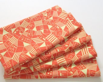 Large Cloth Napkins - Set of 4 - Red Yellow Houses