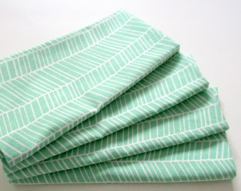 Large Cloth Napkins - Set of 4 - Seafoam Green Herringbone