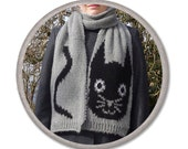 CAT KNITTED SCARF - gray black - womens accessories scarves - knitted fashion - gift ideas for her - long winter scarf - black cat