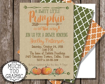 FALL Baby Shower Invitation Invitations A Little Pumpkin is on the way Burlap & Back Design WATERCOLOR Pumpkins Orage, brown and Green