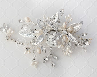 Wedding Clip of Texture Petals Leaves in silver Ivory Freshwater Pearls  Marquise Crystals