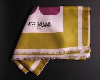 Miss Balmain Silk Scarf Paris 1960 - Pierre Balmain Paris Haute Couture Vintage - French Accessories Balmain - French Woman Trend Paris 1960
