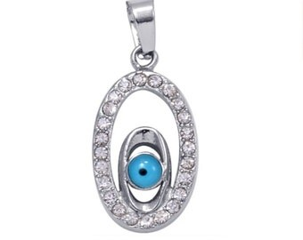 Evil Eye, Simulated Diamond Oval Pendant Without Chain Silver-Tone TGW 1.00 cts.