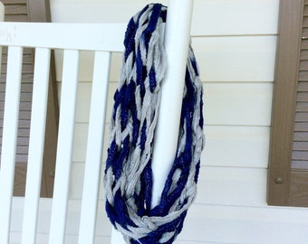 Dallas Cowboys Inspired Infinity Scarf, Blue and Grey Women's Scarf, Team Spirit Scarf for Women or Teens, Dallas Cowboys Team Pride Scarf