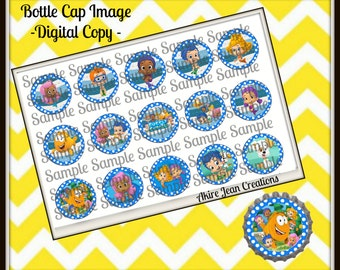 Bubble Guppies -INSTANT DOWNLOAD - Bottle cap Images - Cake toppers - Bow Center