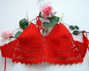 Red top crochet-crochet cotton-Top hippie chic Bra with hearts to filet-boho Fashion Beach-Coachella-