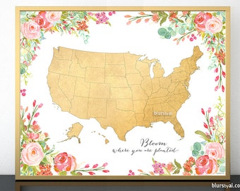 Floral Map Etsy - Map of gold in the us
