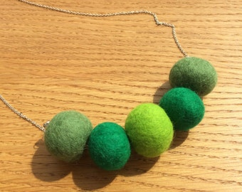 Handmade Merino Wool and Sterling Silver Necklace