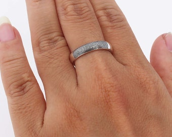 Your Actual Fingerprint Ring - Fingerprint Ring - Actual Signature Ring - Memorial Jewelry - Wedding Rings For Him & Her - Wedding Bands