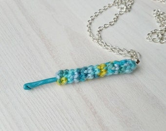 Polymer clay hook with crocheted handle, necklace, pendant, gift for crochteter