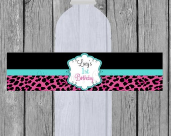 Hot Pink Leopard Print, Water bottle labels, Digital file, Sized for a 16.9 ounce water bottle, Birthday Party, Personalized.