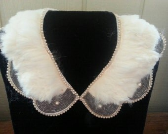 Fur and Glass Bead Collar