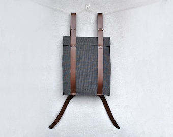 Backpack, custom laptop bag, leather straps, lightweight canvas knapsack, custom backpack 101