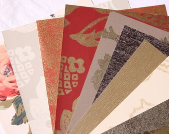 Wallpaper remnants for arts, crafts, 20 pieces of wallpaper, craft supply, neutrals, florals, arts & crafts paper set/selection